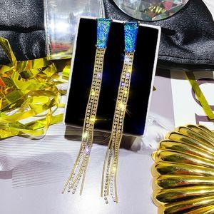 FYUAN Long Tassel Rhinestone Earring Exquisite Blue Rose Gold Crystal Dangle Earrings for Women Wedding Bride Jewelry Gifts