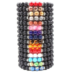 New Lavagestein Stein Perlen Armband Chakra Charm Naturstein Ätherisches Öl Diffuser Perlen-Kette für Frauen-Mann-Mode Handwerk Schmuck A0080