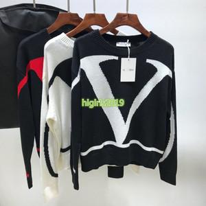 femmes haut de gamme fille pull en tricot grande lettre modèle vlogo col ras du cou tricot chemise multicolore chemisier à manches longues design de mode pull-over haut