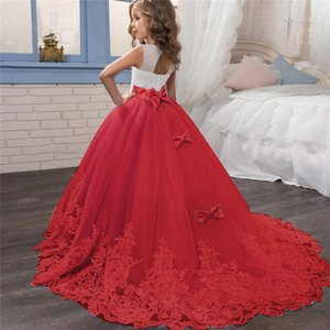 Принцесса платье девушки Рождество Пром платье девушки цветка Свадьба Вечерние платья Детские платья для девочек Платье-де-феста Лонго