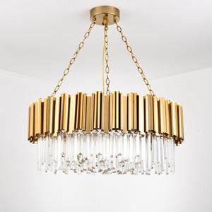 Lámpara de cristal moderna araña para sala de estar de lujo de oro redondo de acero inoxidable chandeliers iluminación AC100-240V