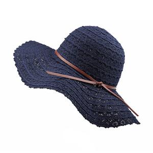 Lacet d'été en coton doux chapeaux de soleil pour les femmes Design de mode femme Floppy Beach Sun Hat pliable grand bord respirant chapeau de paille