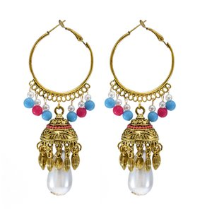 Turkey Boho Vintage Imitation Pearl Beads Tassel Dangle Earrings Indian Jhumka Hoop Earrings for Women Party Jewelry
