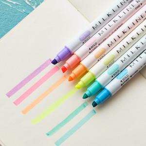 12pcs / set Mildliner Fosforlu Kalem Kırtasiye Milkliner Çift Başlı Floresan Marker Kalem 12 Renk Sevimli Kore işaretleyin