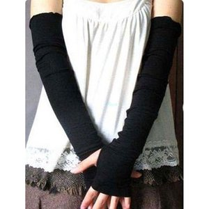 Forma-Arm Warmers 2018 chegam novas Mulheres Luvas sólido elástico manga comprida dedos Sunscreen Cashmere Mistura Arm Warmers Sleeve