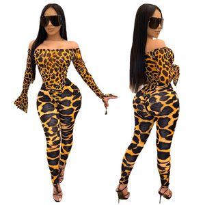 Free Ship 2019 Женщины моды печати Bodysuit Топ и брюки Set Lady Тонкий двух частей штаны Club Party Wear