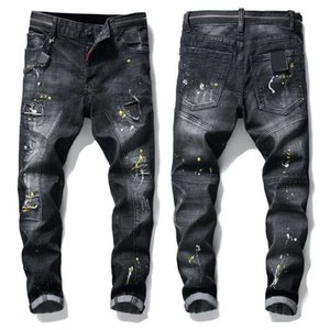 New high-quality men's casual pants coated slim straight pleated locomotive jeans badge fashion tide brand designer jeans
