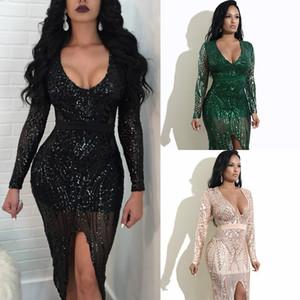 Glarm lantejoulas bling bling vestidos de festa 2019 sexy profundo decote em v mangas compridas lado bainha bainha moda clube mulheres dress preto verde champanhe
