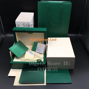 Original Matching correcte Papiers Carte de sécurité Sac cadeau Top Green Wood Coffret pour les boîtes Rolex Montres Livrets gratuite Imprimer Carte personnalisée