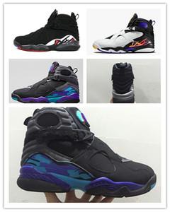 2019 venta al por mayor barato CALIENTE 8 8s Chrome Aqua Negro Púrpura zapatos de baloncesto Hombres 8s Playoffs Tres turba Zapatillas de deporte de lanzamiento de calidad superior