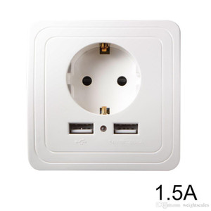EU 플러그 소켓 전원 콘센트 패널 듀얼 USB 포트 1.5A 벽 충전기 어댑터 흰색