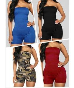 Sexy Mulheres Casual Desporto Jumpsuits macacãozinho Designer Calças Curtas Onesies mangas magro Halter Bodycon cor sólida corrente Ty132