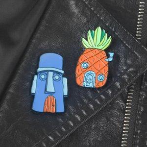 Desenhos animados esmalte pins broches Carton abacaxi Broches de metal emblema Alloy botão de lapela broche For Kids crianças jóias Pinos Atacado presente