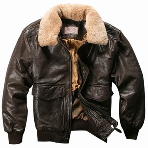 Vuelo Avirex fuerza aérea Fly Chaqueta cuello de la piel chaqueta de cuero genuino de los hombres de Brown Negro de piel de oveja Escudo Bombardero chaqueta del invierno Mal