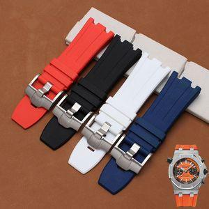 أسود أزرق سيليكون المطاط سوار معصمه الرياضة حزام ساعة 28mm watchband لساعات ap حزام حزام المعصم
