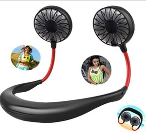 Hanging portable cou Sport Fan mains USB libre rechargeable Wearable Neckband Fan 3 Niveau Débit d'air Hanging Neck Fan Party Favor CCA12197