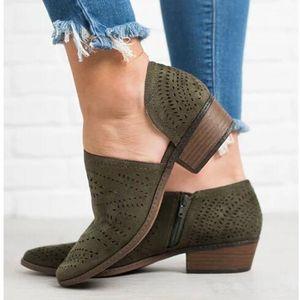 Casual vente chaude-femmes Slip On Loafer Toe Cut Out Slip Sur Bureau Casual Dressy Ankle Boot
