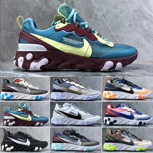 nike Epic React Element 87 Fashio de los zapatos de la marca de plataforma hombres mujeres de la lona para hombre de entrenadores atléticos zapatillas de deporte casuales blancos