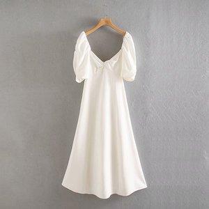 Summer Elegant White Temperament Dress Ladies Puff Sleeve Knot Dress Casual Sqauare Collar Beach Vacation Clothes Women