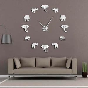 37 inç Orman Hayvanlar Fil DIY Büyük Duvar Saati Ev Dekorasyonu Modern Tasarım Ayna Etkisi Dev Çerçevesiz Filler DIY Saat İzle