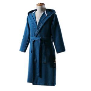 2019 Primavera Grosso Waffle roupão de algodão acolchoado sleepwear longas vestes unisex camisola bordado com capuz roupão pijamas cintos