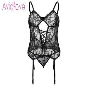 Avidlove Artı Boyutu Şeffaf Lingerie Seksi Erotik Sıcak Seks Kostüm Kadın Halter Açık Dantel Babydoll Elbise İç Seti Nighty Y19070302