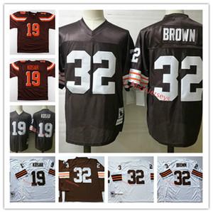 Mens Vintage # 19 Bernie Kosar Football Jersey Cousu Blanc Brown manches longues # 32 Jim BrownJersey S-3XL