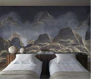 Özel duvar kağıdı 3D yeni Çin soyut çizgiler mood manzara arka plan duvar resimleri 5d dekoratif duvar kağıdı 8d