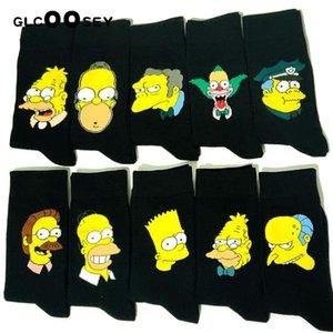 10 pares / paquete de personalidad divertida algodón feliz de los pares de los amantes Calcetines Negro Medio calcetines altos lindo para hombres y mujeres Colle