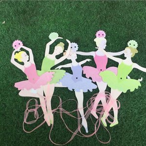 Ballet Girl Dancing Paper Flowers Party Flags Birthday Diy Pull The Coloured Flag Decoration Background Heighten Atmosphere