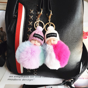 Cute Sleeping Baby Doll Keychain Colored Pompom Ball Carabiner Key Chain Keyring Women Kids Key Holder Bag Pendant key Ring Favor RRA2895
