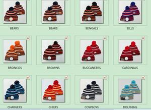 2019 Nouveau Designer 100e anniversaire Sideline Caps Beanies Football américain 32 teams Sports d'hiver Chapeau Bonnet Skullies Sport Pom Chapeaux en tricot