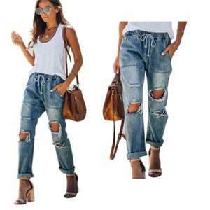 Unique ladies True ripped women's jeans casual slim Drawstring destroy capris blue Jeans for women Breaking holes and lace up pants