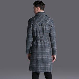 новый ретро длинная ветровка мужской двубортный пиджак повседневная плед регулируемая талия мода осень большой плюс размер SMLXL-5XL6XL