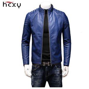 Vestes en cuir de HCXY 2019 Automne Hommes Manteaux Manteaux Hommes de haute qualité en cuir PU imperméable coupe-vent Slim Fit College Luxe V191202
