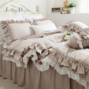 웨딩 장식 침대 옷 위로 유럽 카키 침구 세트 프릴 레이스 이불 커버 침구 우아한 침대보 침대 시트