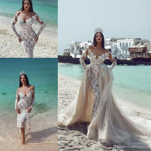 2020 Said Mhamad Mermaid Wedding Dresses With Detachable Train Off Shoulder Lace Long Sleeves Beach Bridal Gowns