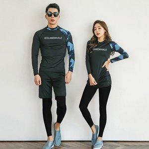Rush Guardia per le donne donne Surf abito coreano del costume da surf donna Costumi da bagno Nuoto Rash femminile manica lunga Split coppia Corea