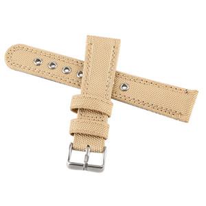 Reloj de accesorios de 22 mm de cuero Negro / beige de nylon de color Relojes reloj de la venda de reemplazo de la correa de pulsera hebilla con barras de resorte