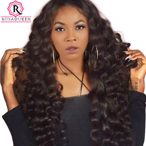 250% Density Loose Wave Lace Front Human Hair Wigs For Black Women Pre Plucked Brazilian Virgin Hair Wig Full Ends Rosa Queen