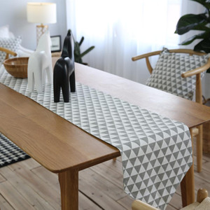 2019 Vendita calda Runner da tavolo geometrici in cotone e lino bandiera da tavolo che copre il corridore del panno di stoffa per la bandiera di nozze