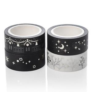 Nastro adesivo Washi nero 5m fai-da-te Minimalista carta bianca nera nastro adesivo nastro adesivo decorativo fresco piccolo nastro adesivo