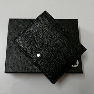 Luxurys Top cuero auténtico titular de la tarjeta Mt marcas de tarjetas de paquete para hombre diseñadores Negro clásico del cortocircuito del hombre tarjeta de identificación del crédito del regalo con la caja Monederos