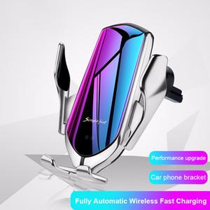 자동 클램핑 자동차 무선 충전기 10W 급속 충전 아이폰 (11) 프로 XR XS 화웨이 P30 프로 치 적외선 센서 전화 홀더에 대한