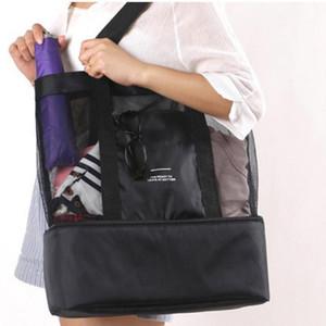 High Capacity Женщины Сетка Прозрачная сумка Двойной слой сохранения тепла Большой Пикник Пляжные сумки 2019 моды сумка