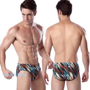 100pcs 2020 new men's swim briefs large size printing high-elastic cloth swimming trunks