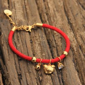 Купить четыре получить небольшие подарки женщин моды нового поросенка браслет милой поросенка пару пару браслет зодиак свинья красный канат браслет