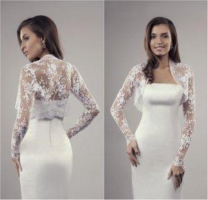 Новые 2020 Короткие Lace Bridal куртка палантины Белый цветок с длинным рукавом белое свадебное болеро шали Иллюзия Свадебные аксессуары