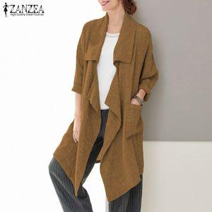 2019 ZANZEA Moda Mulheres Coats Outono assimétricas Jackets Overcoat Big bolsos do casaco Outwear Ladies Inverno longo e fino Cardigan