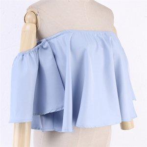 Nuevo estilo de primavera y verano de las señoras de la manga de la llamarada del hombro sólido camisas Tank Tops de cultivos cosechados con capucha del traje de la blusa